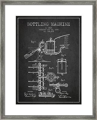 1885 Bottling Machine Patent - Charcoal Framed Print