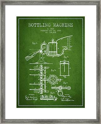 1885 Bottling Machine Patent - Green Framed Print by Aged Pixel