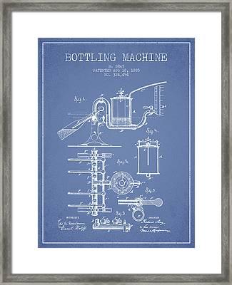 1885 Bottling Machine Patent - Light Blue Framed Print by Aged Pixel
