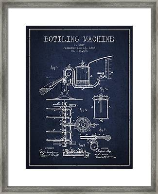 1885 Bottling Machine Patent - Navy Blue Framed Print by Aged Pixel