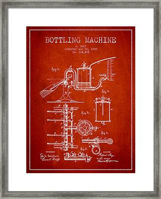 1885 Bottling Machine Patent - Red Framed Print by Aged Pixel