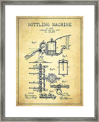 1885 Bottling Machine Patent - Vintage Framed Print by Aged Pixel