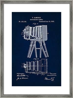 1885 Camera Us Patent Invention Drawing - Dark Blue Framed Print