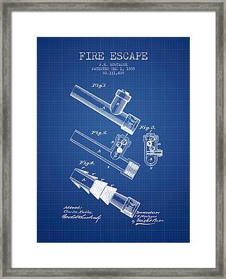 1885 Fire Escape Patent - Blueprint Framed Print by Aged Pixel