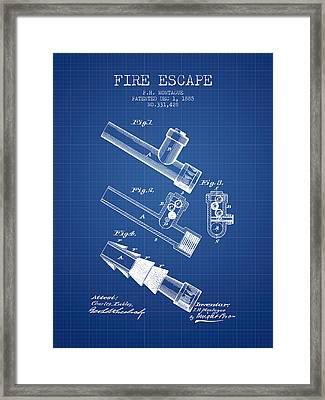 1885 Fire Escape Patent - Blueprint Framed Print