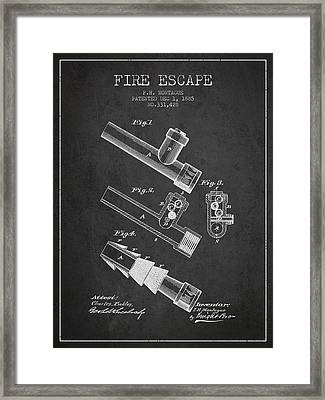 1885 Fire Escape Patent - Charcoal Framed Print