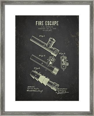 1885 Fire Escape Patent- Dark Grunge Framed Print