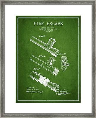 1885 Fire Escape Patent - Green Framed Print by Aged Pixel