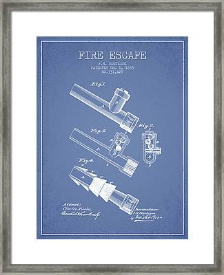 1885 Fire Escape Patent - Light Blue Framed Print
