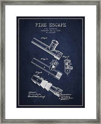 1885 Fire Escape Patent - Navy Blue Framed Print by Aged Pixel