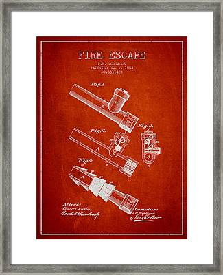 1885 Fire Escape Patent - Red Framed Print by Aged Pixel
