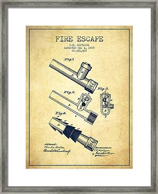 1885 Fire Escape Patent - Vintage Framed Print by Aged Pixel