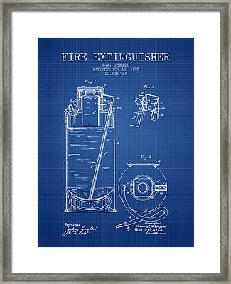1885 Fire Extinguisher Patent - Blueprint Framed Print by Aged Pixel