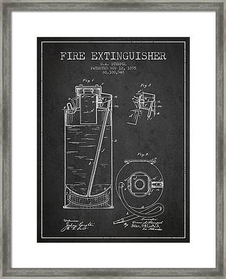 1885 Fire Extinguisher Patent - Charcoal Framed Print by Aged Pixel