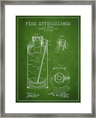 1885 Fire Extinguisher Patent - Green Framed Print by Aged Pixel