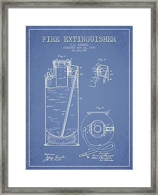 1885 Fire Extinguisher Patent - Light Blue Framed Print by Aged Pixel