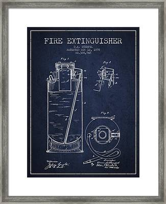 1885 Fire Extinguisher Patent - Navy Blue Framed Print by Aged Pixel