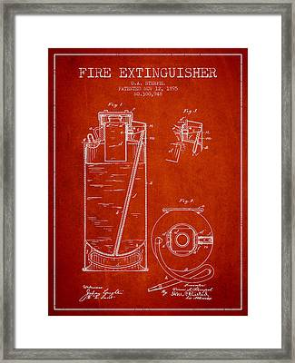 1885 Fire Extinguisher Patent - Red Framed Print