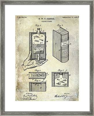 1885 Liquor Flask Patent Framed Print by Jon Neidert