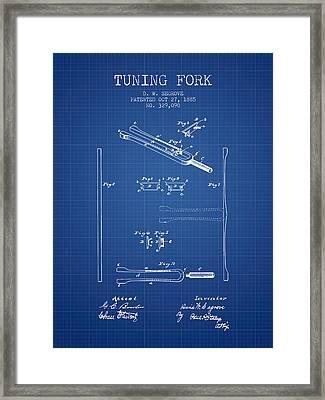1885 Tuning Fork Patent - Blueprint Framed Print