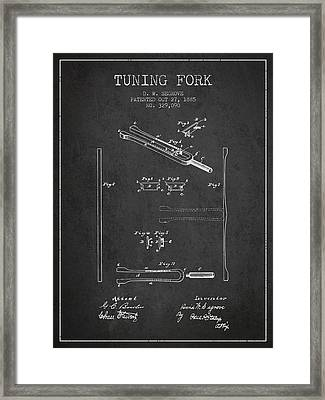 1885 Tuning Fork Patent - Charcoal Framed Print