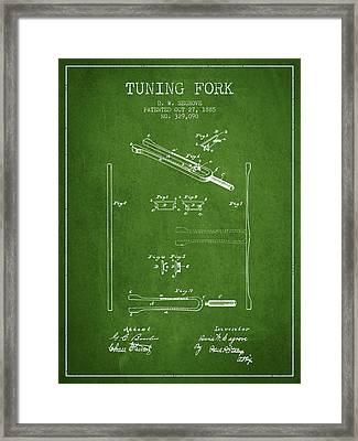 1885 Tuning Fork Patent - Green Framed Print