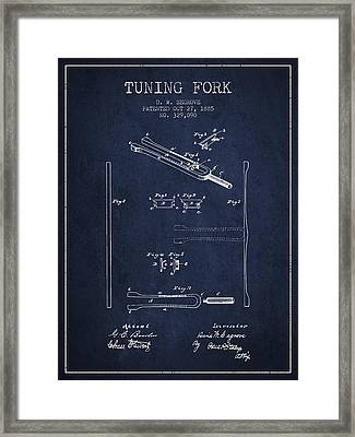1885 Tuning Fork Patent - Navy Blue Framed Print