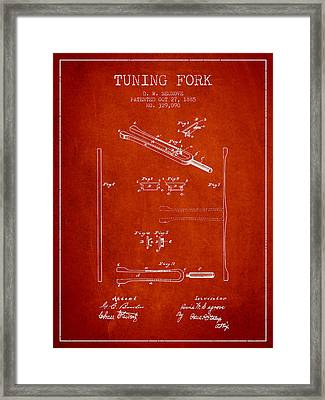 1885 Tuning Fork Patent - Red Framed Print