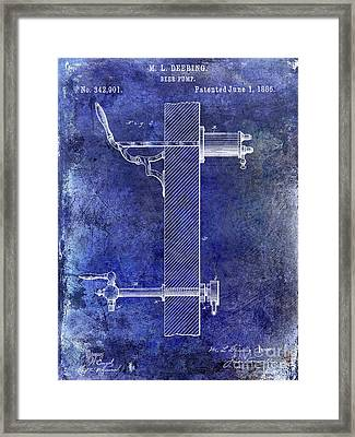1886 Beer Pump Patent Blue Framed Print