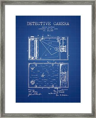 1886 Detective Camera Patent - Blueprint Framed Print by Aged Pixel