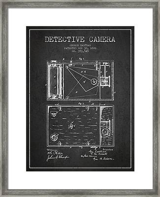 1886 Detective Camera Patent - Charcoal Framed Print by Aged Pixel