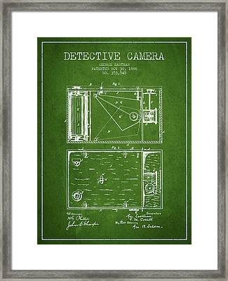 1886 Detective Camera Patent - Green Framed Print by Aged Pixel