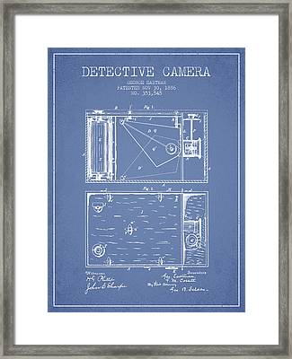 1886 Detective Camera Patent - Light Blue Framed Print by Aged Pixel