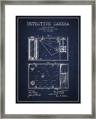 1886 Detective Camera Patent - Navy Blue Framed Print by Aged Pixel