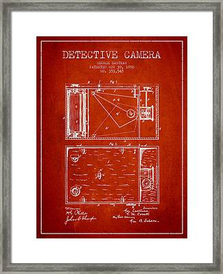1886 Detective Camera Patent - Red Framed Print by Aged Pixel