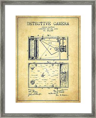 1886 Detective Camera Patent - Vintage Framed Print by Aged Pixel