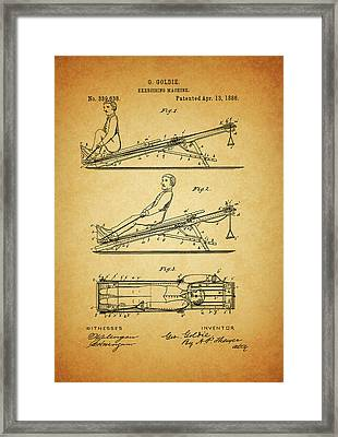 1886 Exercising Machine Patent Framed Print by Dan Sproul