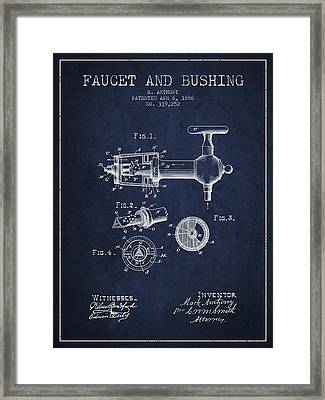 1886 Faucet And Bushing Patent - Navy Blue Framed Print by Aged Pixel