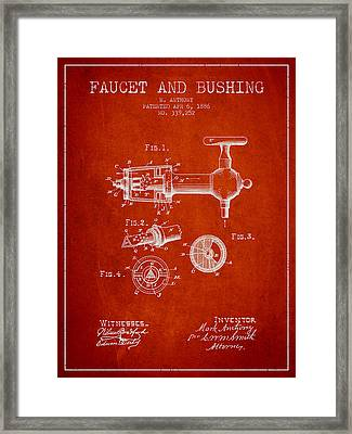 1886 Faucet And Bushing Patent - Red Framed Print by Aged Pixel