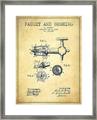 1886 Faucet And Bushing Patent - Vintage Framed Print by Aged Pixel