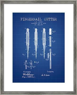 1886 Fingernail Cutter Patent - Blueprint Framed Print by Aged Pixel