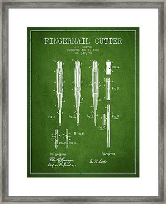 1886 Fingernail Cutter Patent - Green Framed Print by Aged Pixel