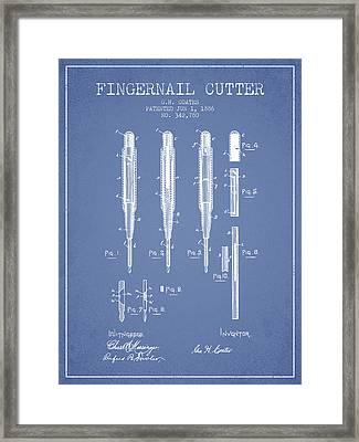 1886 Fingernail Cutter Patent - Light Blue Framed Print by Aged Pixel