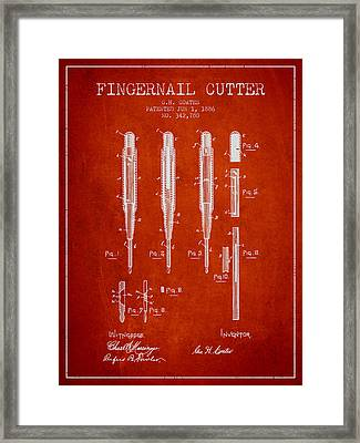 1886 Fingernail Cutter Patent - Red Framed Print by Aged Pixel