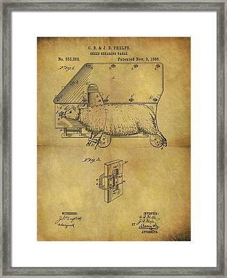 1886 Sheep Shearing Table Patent Framed Print by Dan Sproul