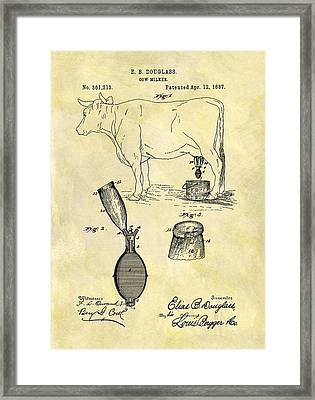 1887 Cow Milker Patent Framed Print by Dan Sproul