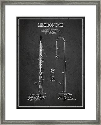 1887 Metronome Patent - Charcoal Framed Print