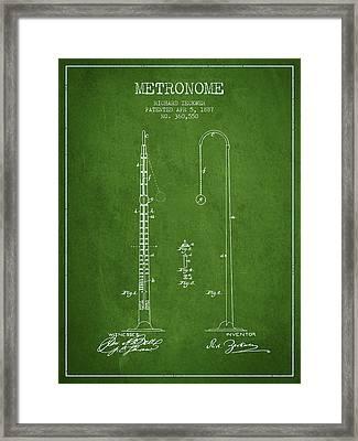 1887 Metronome Patent - Green Framed Print