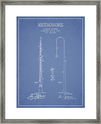 1887 Metronome Patent - Light Blue Framed Print
