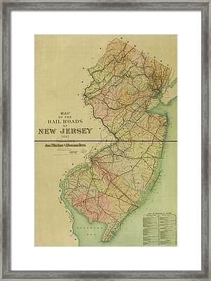 1887 New Jersey Railroad Map Framed Print
